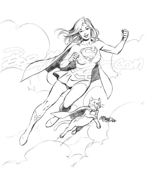 "Supergirl & Streaky 9"" x 12"" 2005"