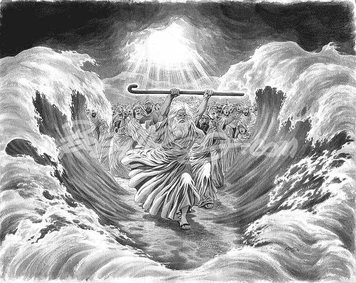 "Moses parting the Red Sea ('01) 16"" x 20"""