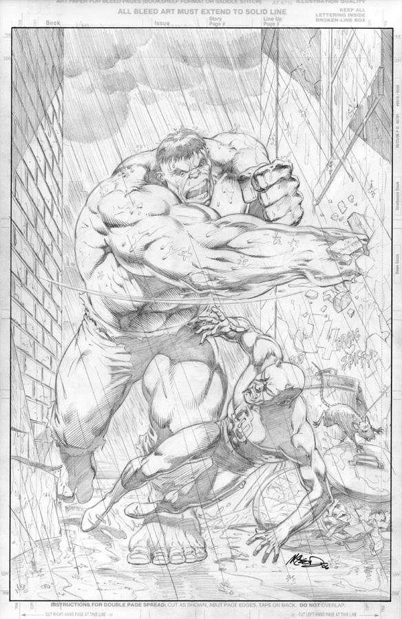"""Hulk & Daredevil ('06) 11"""" x 17""""  (after Zeck)"""